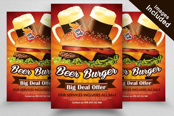 Beer Burger Restaurant Flyer Template