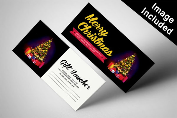 Blank Christmas Gift Voucher Card