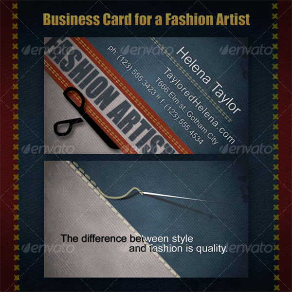 Business Card for Fashion Artists