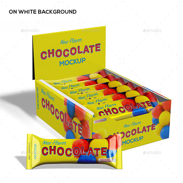 Chocolate Protein Bar and Package Mockup