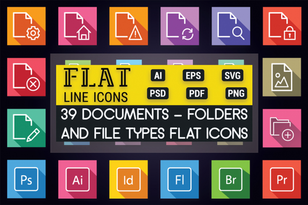 Colorful Folder Type File Icons