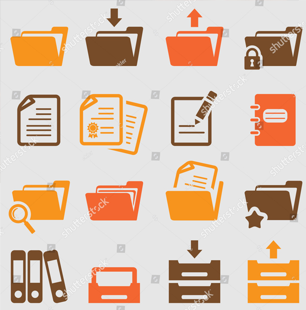 Colorful Vector Folder Icons Set