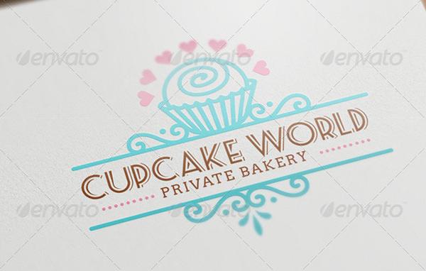Cupcake Bakery Stylish Logo Template