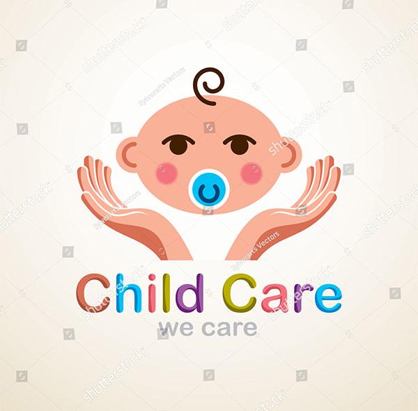 Cute Child Care Logo Template