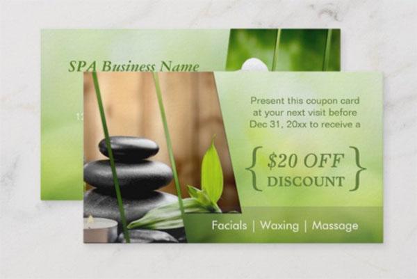 Discount Coupon Card SPA Still Life Massage