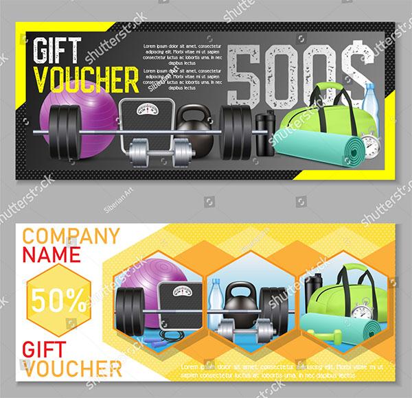 Fitness Gift Voucher Vector Template