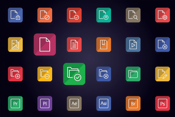 Flat Folder Type File Icons