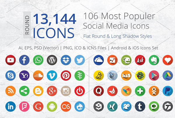 Flat Round Social Media App Icons
