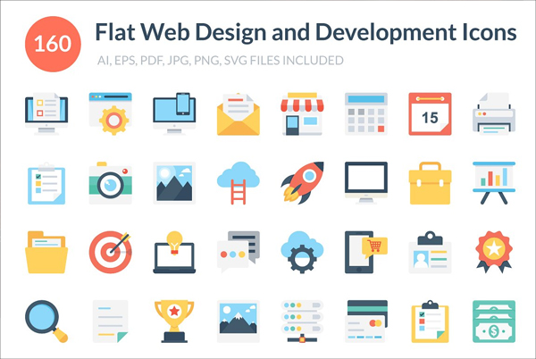 Flat Web Design and Development Icon