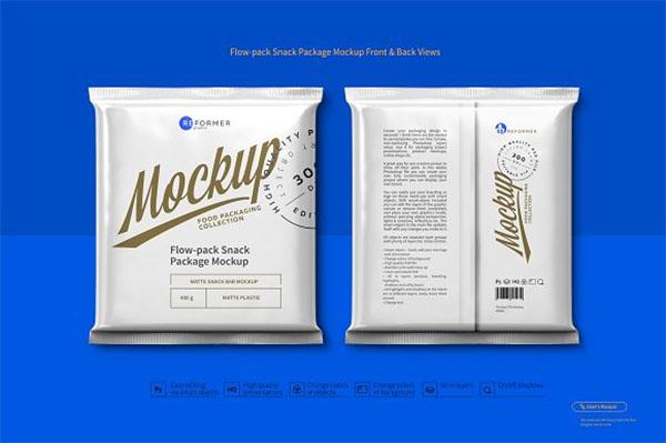 Flow-Pack Snack Package Mockup