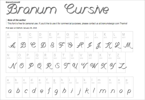 Free Branum Cursive Handwriting Font