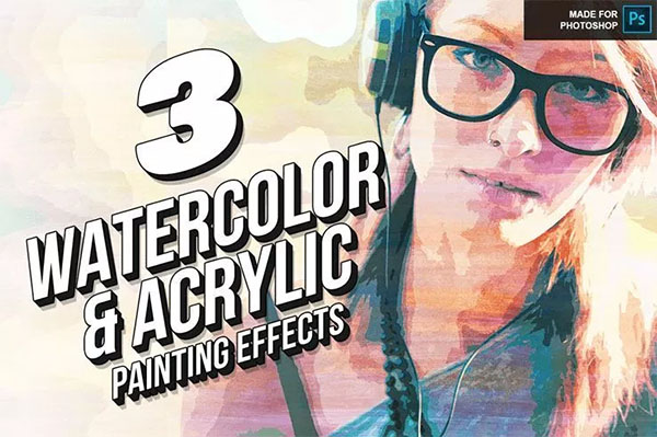 Free Download Watercolor PSD Action Template