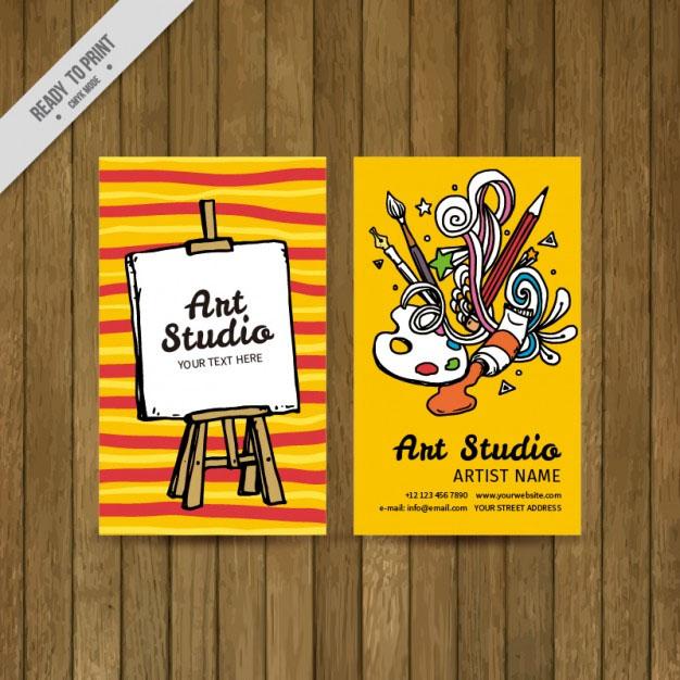 Free Vector Colorful Art Studio Card