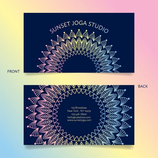 Free Vector Yoga Business Card