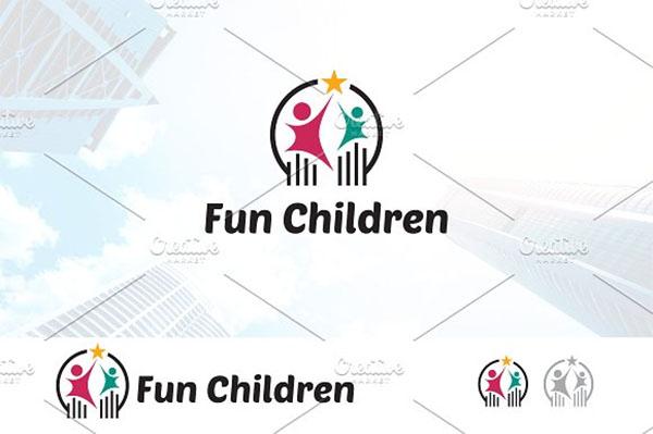 Fun Happy Kid Children Logo