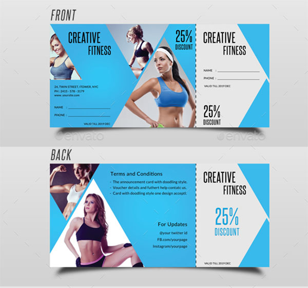 Gym Fitness Voucher Template