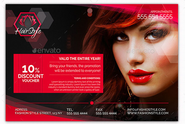Hair Salon Fashion Style Discount Voucher