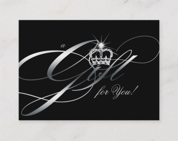 Hair Salon Gift Certificate Black Silver Crown