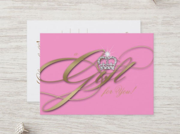 Hair Salon Gift Certificate Pink Jewelry Crown