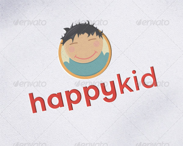 Happy Kid Child Mascot Logo