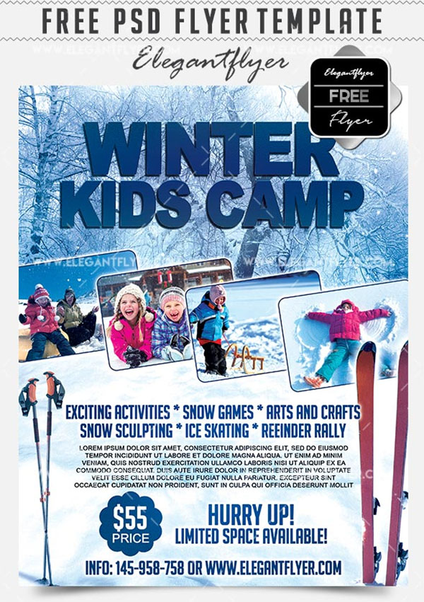 Free Winter Kids Camp Flyer PSD Template