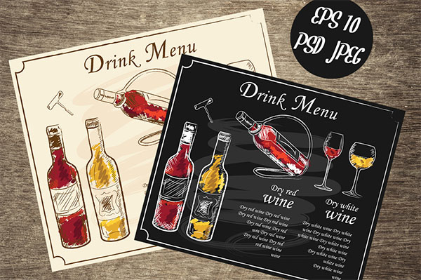 Hand-Drawn Vector Menu Wine List Template