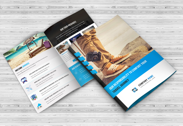 High Quality Travel Agency Bi-Fold Brochure Template