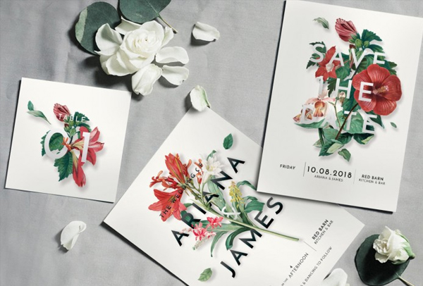 Modern Vintage Floral Wedding Invitation Suite
