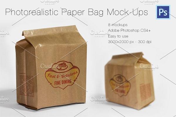 Photorealistic Paper Bag Mockups