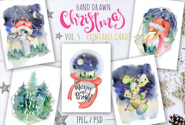 Printable Christmas Watercolor Cards