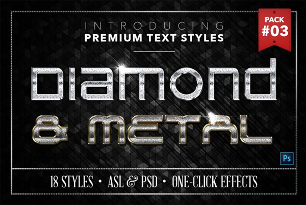 Shiny Diamond and Metal Text Styles