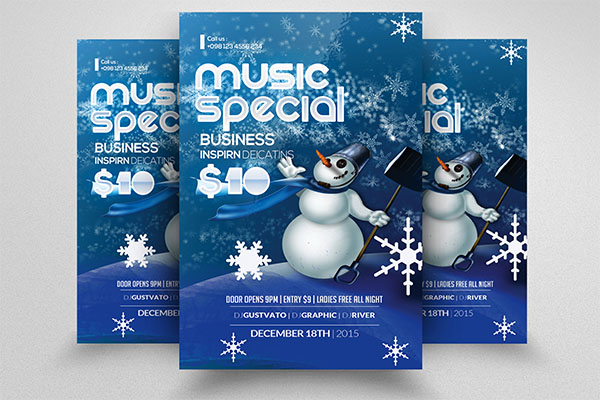 Snow Winter Music Party Flyer