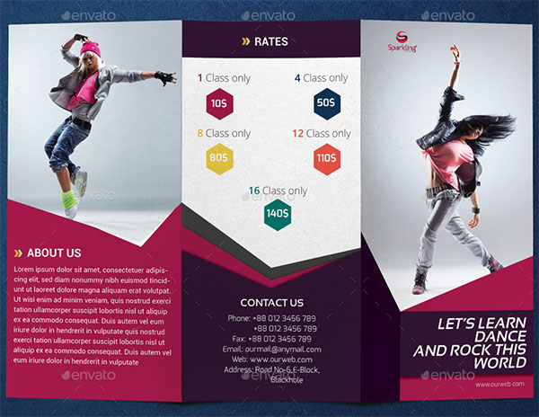 Trifold Dance Studio Brochure Template