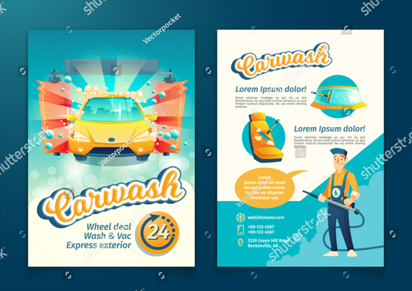 Vector Automatic Car Washing Flyer