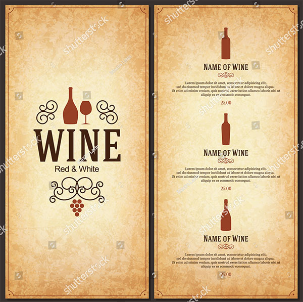 Vector Wine Menu Brochure Template