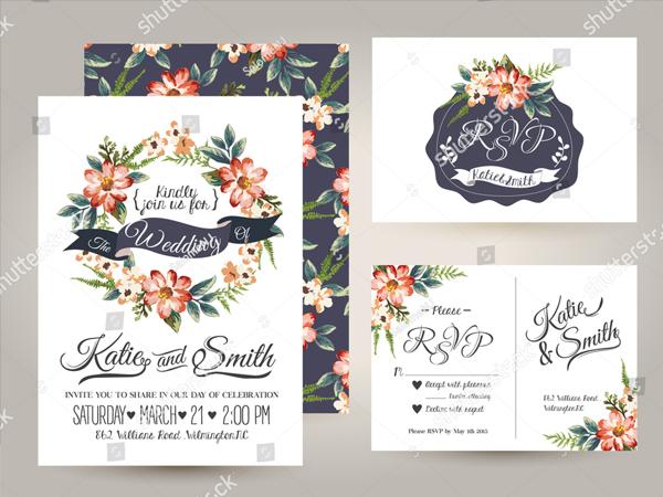 Watercolor Wedding Invitation Card Suite