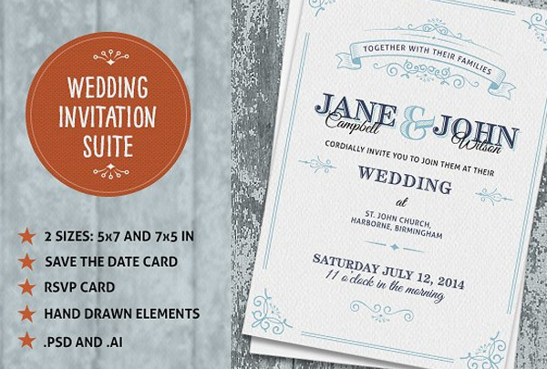 Wedding Invite Suite Vintage Template