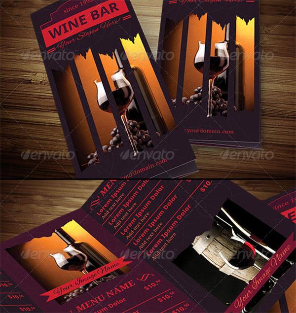 Wine Bar Trifold Brochure Template