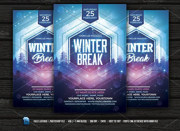 Winter Break Flyer Template