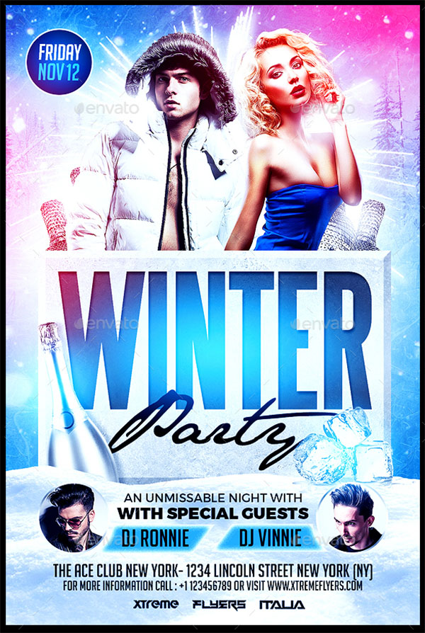 Winter Disco Party Flyer