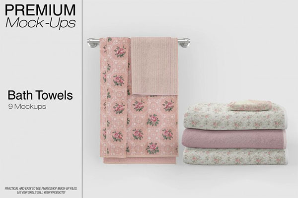 Bath Towels Mockup Set Designs