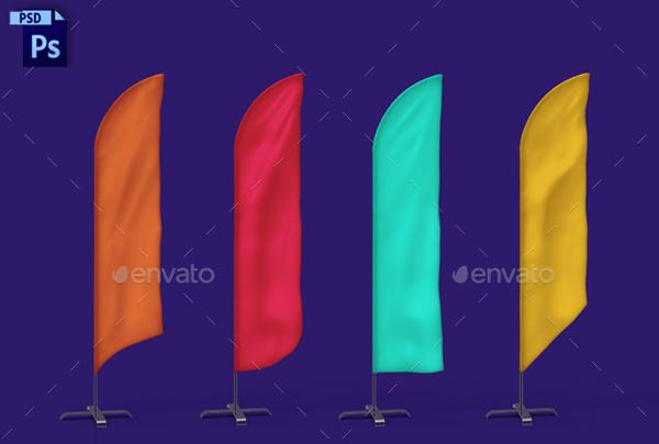 Beach Bow Flags Mockup
