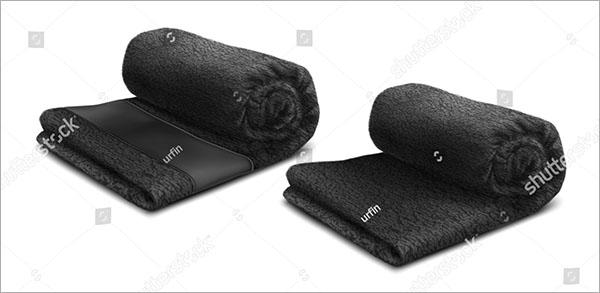 Black Towel Roll Vector MockUp