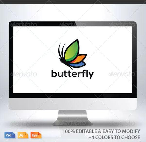 Butterfly Logo Design PSD Template