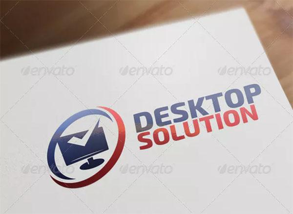 Desktop Solution Computer & Internet Logo