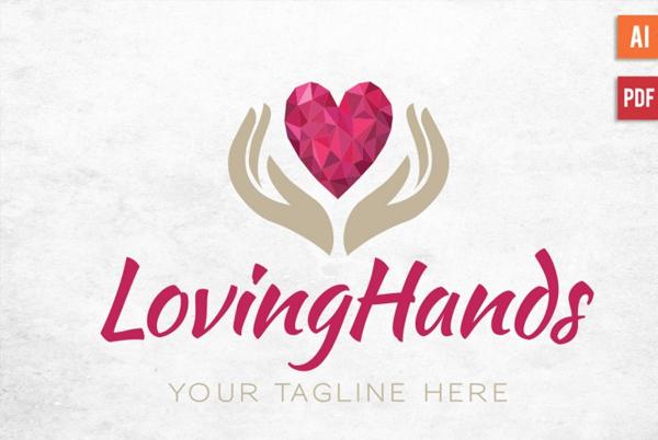 Diamond Heart Hands Logo Design