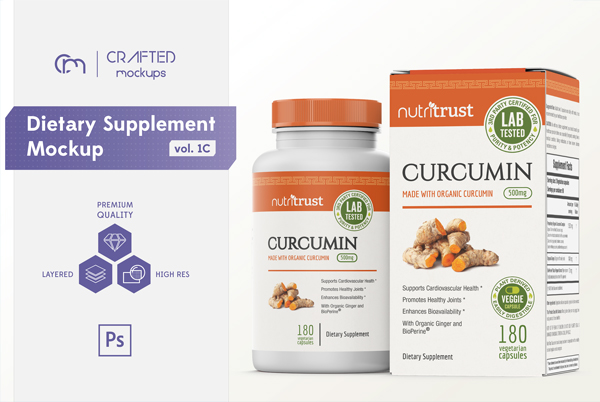 Dietary Supplement Bottle and Box Mockup