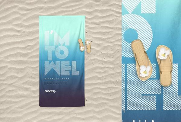 Editable Beach Towel Mockup