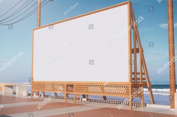 Empty Beach Advertisement Billboard Mockup