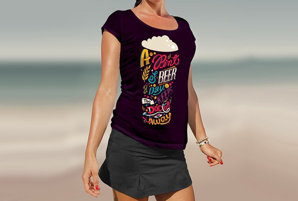 Free Beach Women's T-Shirt Mockup